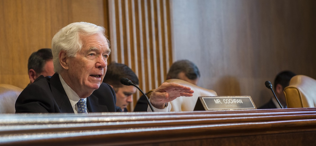 Sen. Thad Cochran, R-Miss., Chairman, Senate Appropriations Committee, Subcommittee on Defense, asks Chief of the Air Force Reserve Lt. Gen. James Jackson a question, during a hearing on the fiscal year 2016 funding request and budget justification for the United States National Guard and Reserve, Washington, D.C., April 29, 2015.  Among others, Jackson testified before the Senate with Director of the Air National Guard Lt. Gen. Stanley E. Clark III.  (U.S. Air Force photo/Jim Varhegyi)