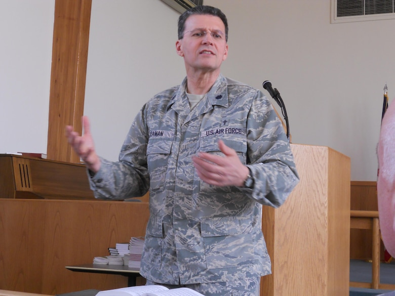 Chaplain (Lt. Col.) Michael Seaman conducts an ecumenical service at the base chapel, Niagara Falls Air Reserve Station, N.Y., May 3, 2015. (U.S. Air Force photo by Maj. Andrea Pitruzzella)