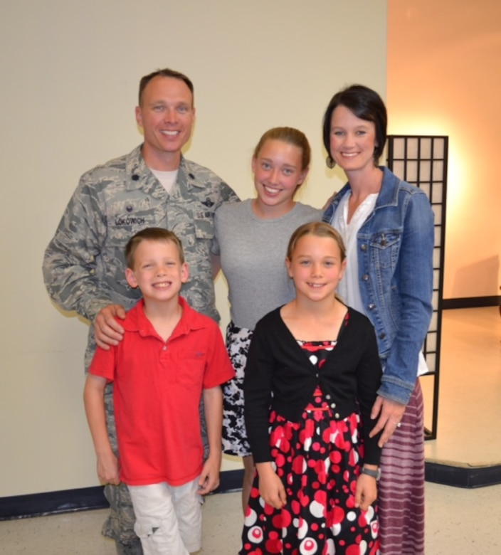Lt. Col. Luke Lokowich, 5th Reconnaissance Squadron commander, his wife Lindsey and his chidren Avery, Jacob, and Abigail, at Osan Air Base, Republic of Korea. (Courtesy photo)