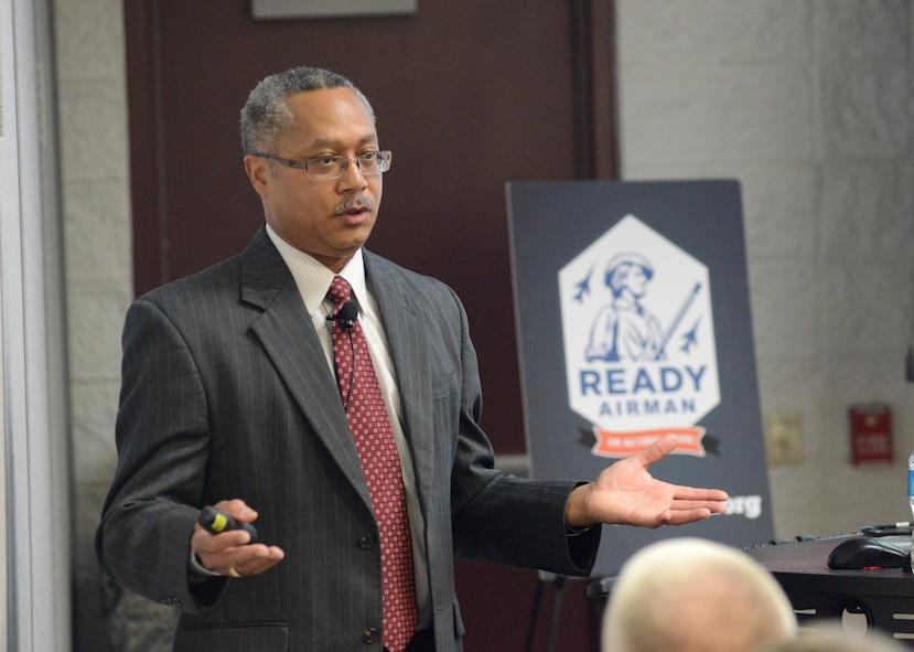 Roderick Earl, Director of Safety for the Air Force Operational Test and Evaluation Center, discusses risk analysis and cyber capabilities at the 2015 Air National Guard Executive Safety Summit held at Volk Field Combat Readiness Center, Wisconsin, May 5, 2015. The conference covers a wide range of topics for senior leaders including safety, resilience, risk management and mishap prevention. (US Air National Guard photo by Staff Sgt. John E. Hillier/RELEASED)