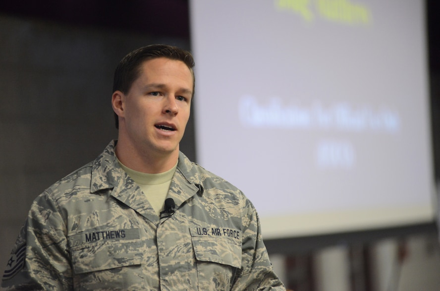 Tech. Sgt. Douglas Matthews, silver star recipient and 2014 Air National Guard Outstanding NCO of the Year, discusses battlefield readiness and resiliency at the 2015 Air National Guard Executive Safety Summit at Volk Field Combat Readiness Training Center, Wisconsin, May 5, 2015. The conference covers a wide range of topics for seinor leaders including safety, resilience, risk management and mishap prevention. (US Air National Guard photo by Staff Sgt. John E. Hillier/RELEASED)