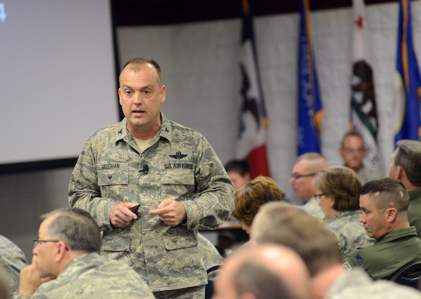 Col. Edward L. Vaughan, Air National Guard director of safety, provides his overview remarks at the 2015 ANG Executive Safety Summit, at Volk Field Combat Readiness Training Center, Wisconsin May 5, 2015. The conference covers a wide range of topics for senior leaders including safety, resilience, risk management and mishap prevention. (US Air National Guard photo by Staff Sgt. John E. Hillier/RELEASED)
