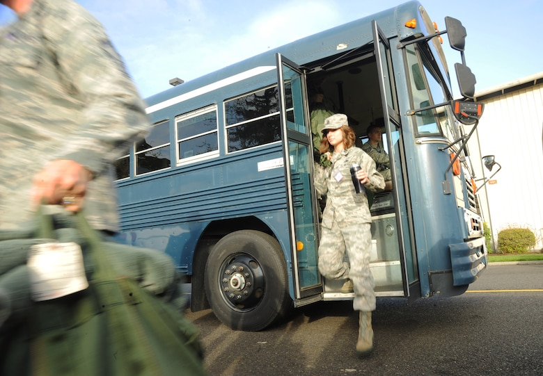 Oregon Air National Guard Capt. Amy Newkirk, assigned to the 142nd Fighter Wing Maintenance Group, arrives to the AEF Skills Rodeo instruction area, Portland Air National Guard Base, Ore., April 12, 2015. (U.S. Air National Guard photo by Tech. Sgt. John Hughel, 142nd Fighter Wing Public Affairs/Release)