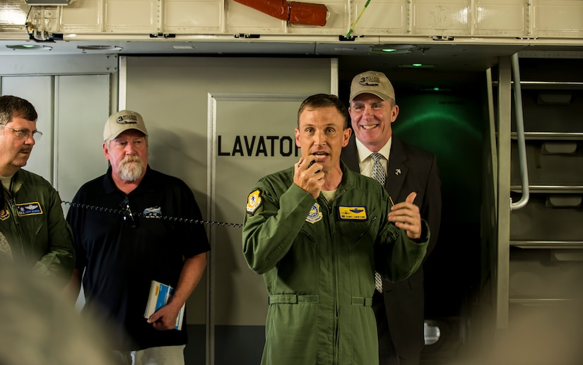 Col. John Lamontagne, 437th Airlift Wing commander, addresses a crowd aboard a C-17 Globemaster III May 5, 2015 at Joint Base Charleston, S.C., during an event celebrating the C-17 surpassing the three millionth flying hour.  An aircrew from JB Charleston flew the plane here from Robins Air Force Base, Ga. The first C-17 flight was Sept. 15, 1991 and the Air Force currently has 222 C-17's in the fleet. (U.S. Air Force photo/Senior Airman Jared Trimarchi)