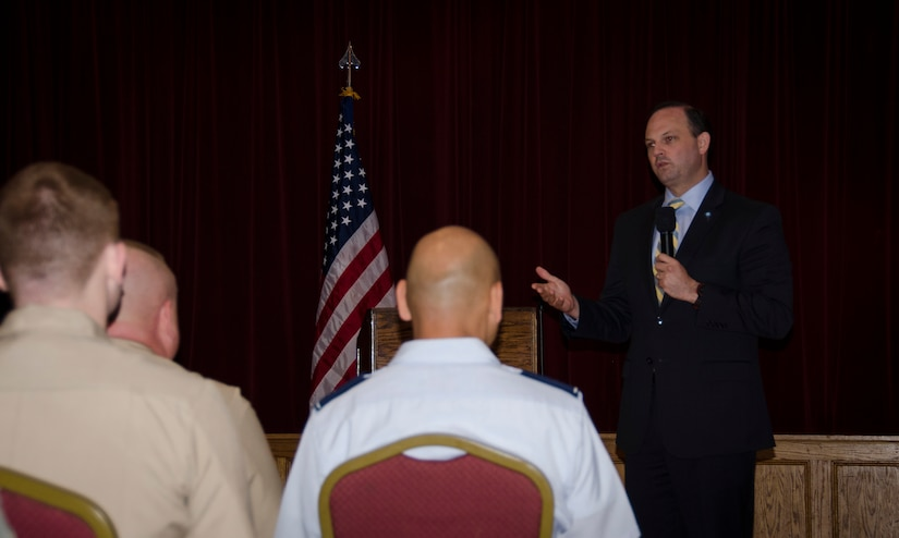 South Carolina Attorney General Alan Wilson discusses predatory business practices aimed at military members during a Town Hall briefing, May 4, 2015 at Joint Base Charleston – Weapons Station, S.C. Alan Wilson was first elected South Carolina's 51st Attorney General on November 2, 2010 and re-elected for a second term on November 4, 2014. As South Carolina's Attorney General, Wilson is the state's chief prosecutor, chief securities officer and the state's chief legal counsel.  (U.S. Air Force photo/Staff Sgt. AJ Hyatt)