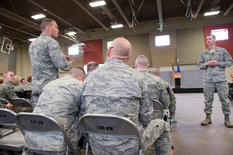The Director of the Air National Guard (DANG), Lt. Gen. Stanley E. Clarke III speaks to members of the 132d Wing, Des Moines, Iowa during the May Off-Site Resiliency Event held at the Valley Community Center, West Des Moines, Iowa on Saturday, May 2, 2015.  The Command Chief Master Sgt. of the Air National Guard (CCM ANG), Chief Master Sgt. James W. Hotaling, is also in attendance, which marks the first time in history that both the DANG and CCM ANG visit an ANG wing together.  (U.S. Air National Guard photo by Tech. Sgt. Linda K. Burger/Released)