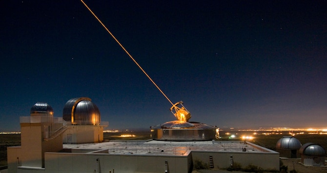 The Sodium Guidestar at the Air Force Research Laboratory's Starfire Optical Range resides on a 6,240 foot hilltop at Kirtland AFB, N.M. Researchers with AFRL's Directed Energy Directorate use the Guidestar laser for real-time, high-fidelity tracking and imaging of satellites too faint for conventional adaptive optical imaging systems. Directed-Energy and Electro-Optics for Space Superiority (DEOSS) is one of 26 ground-breaking AFRL technologies which will be demonstrated during DoD Lab Day, May 14 at the Pentagon Courtyard. (U.S. Air Force photo)