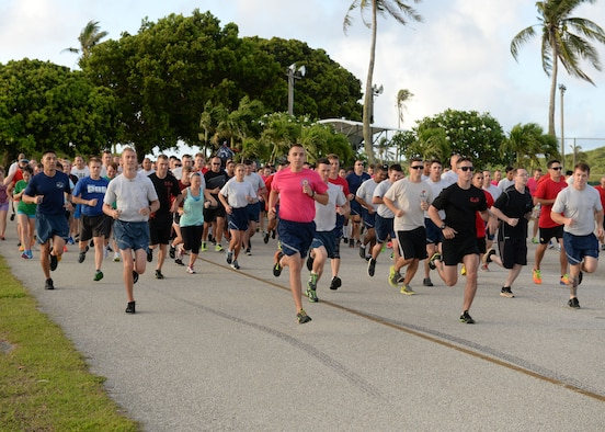 Contestants begin the Cinco De Mayo 5K hosted by the Coral Reef Fitness Center team May 5, 2015, at Andersen Air Force Base, Guam. The fastest runner finished with a time of 19:12. The date is observed to commemorate the Mexican army's victory over French forces at the Battle of Puebla on May 5, 1862. (U.S. Air Force photo by Airman 1st Class Joshua Smoot/Released)