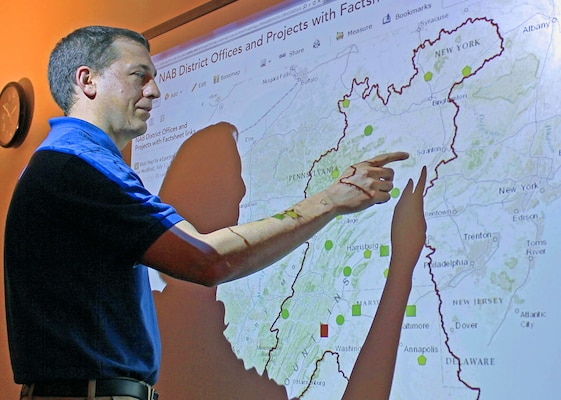 GIS Program Manager Jared Scott demonstrates how to use new internal GIS portal, April 2015.