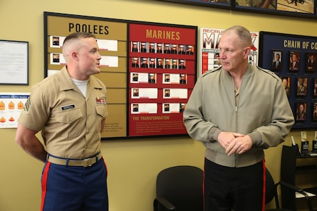 Major General Mark A. Brilakis, Commanding General Marine Corps Recruiting Command, spoke with Sergeant Kyle Sorrell at Permanent Contact Station Anderson during a visit to Recruiting Station Indianapolis April 27, 2015. Photo by LCpl Zachery B. Martin