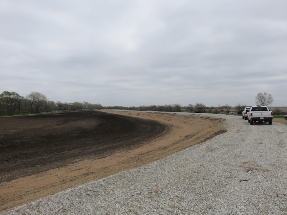 A view of the new Shell Creek levee north and east of Schuyler, Nebraska (looking east).