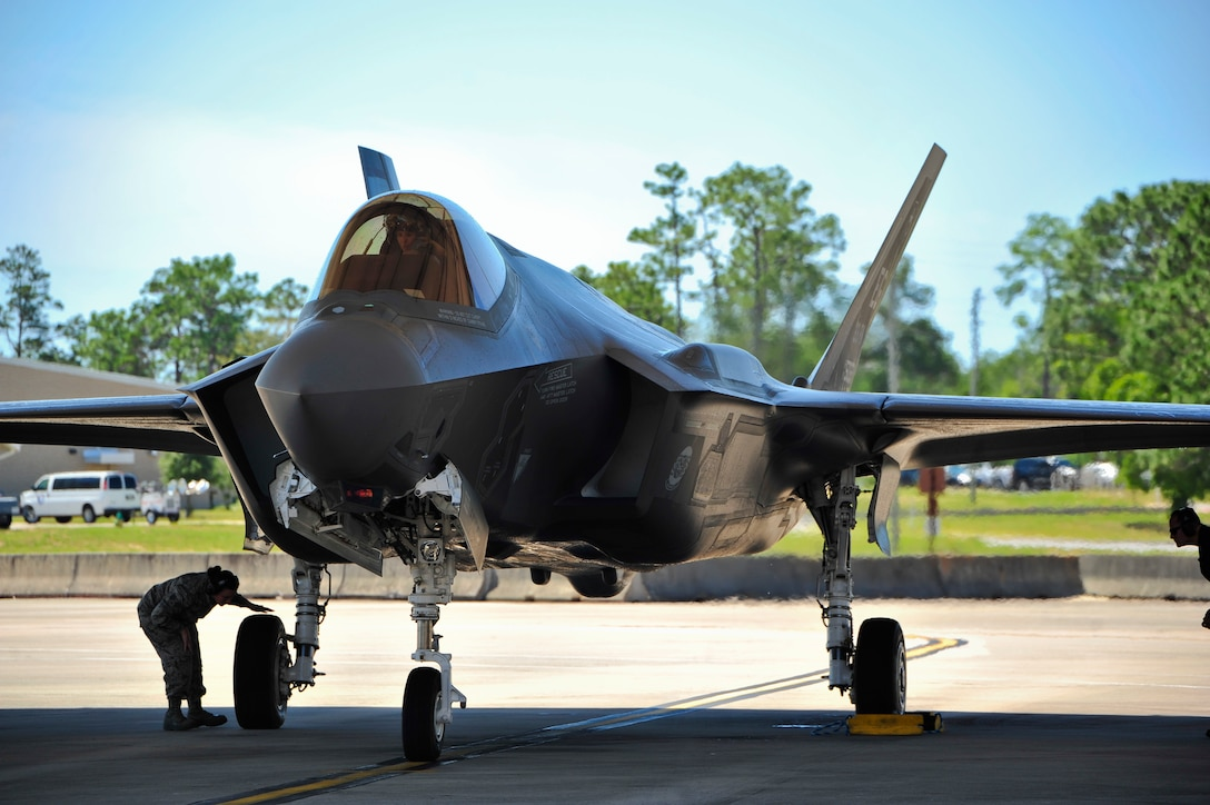 Lt. Col. Christine Mau, 33rd Operations Group deputy commander, returns from her first F-35A training flight after landing on Eglin Air Force Base, Florida, May 5, 2015. Mau, who previously flew F-15E Strike Eagles, made history as the first female F-35 pilot in the program. (U.S. Air Force photo/Staff Sgt. Marleah Robertson)