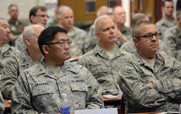 Senior Air National Guard leaders listen to presentations at the 2015 Air National Guard Executive Safety Summit at Volk Field Combat Readiness Training Center, Wisconsin, May 5, 2015. The conference covers a wide range of topics for ANG senior leaders including safety, resilience, mishap prevention and training. (US Air National Guard photo by Staff Sgt. John E. Hillier/RELEASED)