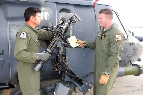 Staff Sgt. Robert Blacknall (right), 512th Special Operations Squadron, and Tech Sgt. Lane Miller, 150th Special Operations Wing, New Mexico Air National Guard, conduct a pre-flight inspection on the right gun on an HH-60 Pave Hawk helicopter at Kirtland recently. While Blacknall is regular Air Force and Miller is an active guard member, the two work side by side as Instructor Special Mission Aviators in the 512th under the total force integration between the 58th and 150th SOWs. (Photo by Jim Fisher)