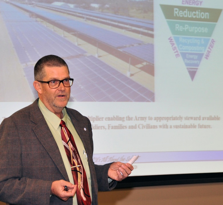 Todd Dirmeyer, the Army's 2014 Energy Manager of the Year from Fort Hunter Liggett, California, shares his installation's Net Zero strategy with Army Resource Efficiency Managers during an April conference at Redstone Arsenal, Alabama.