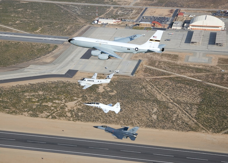 While the 445th Flight Test Squadron was active, the squadron flew four airframes under its tenure, which included the KC-135 Stratotanker, C-12 Huron, T-38 Talon and F-16 Falcon. As of May 1, the 445th Flight Test Squadron has been consolidated into three other Combined Test Forces. From 2002 until present, the mission of the 445th FLTS and Test Operations Combined Test Force has been to conduct flight testing for the warfighter, support flight test execution, and to be a center of excellence for all types of flight test training. (U.S. Air Force photo by Jet Fabara)