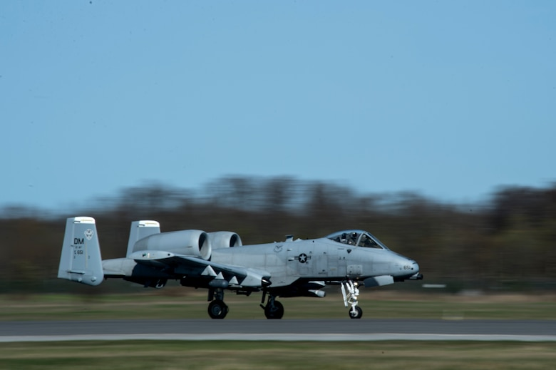 An A-10 Thunderbolt II attack aircraft takes off from Ämari Air Base, Estonia, May 4, 2015. The U.S. is committed to acting collectively with NATO Allies and the international community to address an security challenges. (U.S. Air Force photo by Senior Airman Rusty Frank/Released)