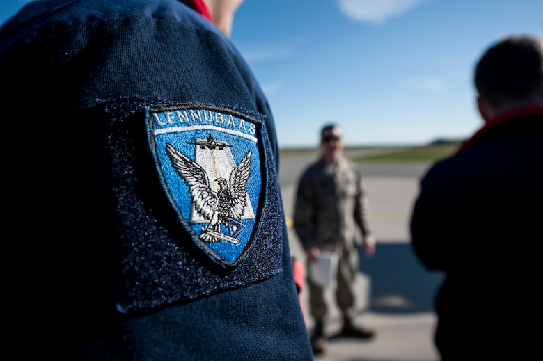 An Estonian air force patch is displayed on the shoulder of a firefighter May 4, 2015, at Ämari Air Base, Estonia. The U.S. and Estonian air forces will conduct training aimed to strengthen interoperability and demonstrate the countries' shared commitment to the security and stability of Europe. (U.S. Air Force photo by Senior Airman Rusty Frank/Released)