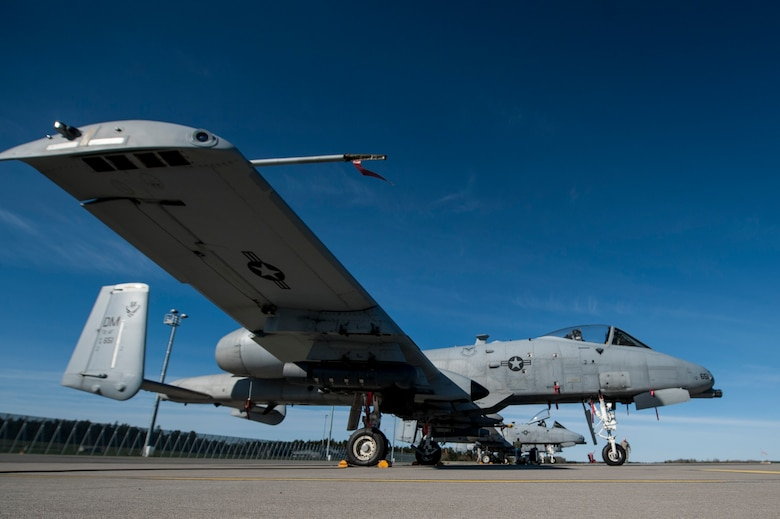 An A-10 Thunderbolt II attack aircraft is parked on the flightline May 4, 2015, at Ämari Air Base, Estonia. The A-10 supports Air Force missions around the world as part of the U.S. Air Force's current inventory of strike platforms, including the F-15E Strike Eagle and the F-16 Fighting Falcon fighter aircraft. (U.S. Air Force photo by Senior Airman Rusty Frank/Released)