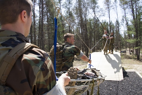 Marine Corps Officer candidates and applicants work together to complete a Leadership Reaction Course at Fort McCoy, Wis., May 2, 2015.  Recruiting Stations Milwaukee and Twin Cities conducted a joint weekend event to prepare the candidates for Officer Candidates School.