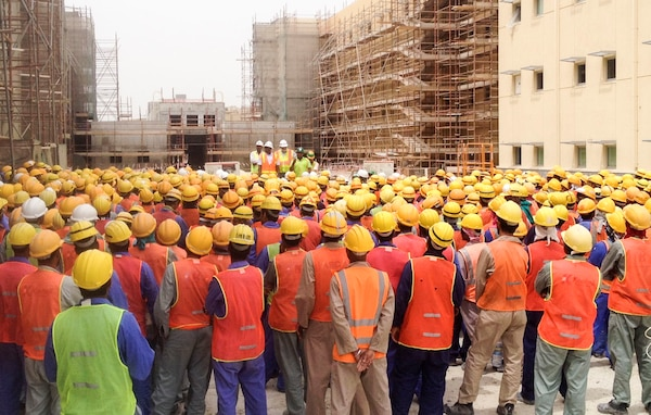 Workers with the Bahrain Resident Office conducted a Construction Safety Stand-Down May 4th at the P935/940 (Transient Bachelor Quarters) construction site where projects reached one million man-hours free of safety violations or accidents.   Area Engineer Shahzada Shahrukh spoke to workers about the importance of safety in the workplace, particularly about Fall Prevention. The P935/940 projects reached one million man-hour free of safety violations or accidents.