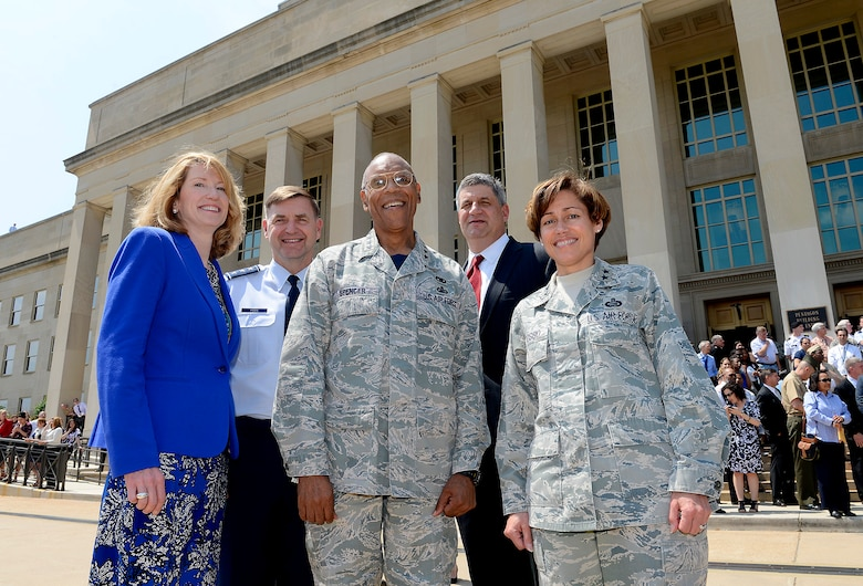 Lisa S. Disbrow, the acting under secretary of the Air Force; Lt. Gen. Stephen L. Hoog, the assistant Air Force vice chief of staff; Gen. Larry O. Spencer, the Air Force vice chief of staff; Dr. William A. LaPlante, the assistant secretary of the Air Force for Acquisition; and Maj. Gen. Gina Grosso, the director of the Air Force Sexual Assault Prevention and Response Office; stand in front of the Pentagon for a photo during the Arsenal of Democracy Flyover May 8, 2015, in Washington, D.C. (U.S. Air Force photo/Scott Ash)