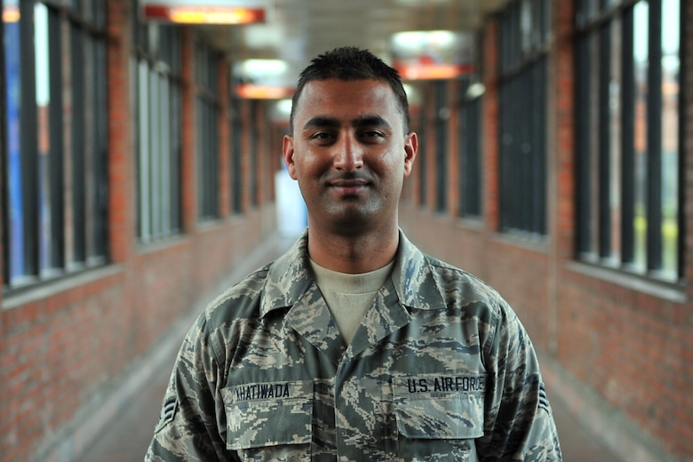 U.S. Air Force Senior Airman Manoj Khatiwada, 21st Medical Operations Squadron aerospace medical technician, stands in the terminal at the Tribhuvan International Airport in Kathmandu, Nepal, May 8, 2015. Manoj joined a team from the 36th Contingency Response Group to assist U.S. Air Force, U.S. Department of State and U.S. Agency for International Development operations by assisting with communicating with the Nepalese Army as they process relief supplies following a magnitude 7.8 earthquake that struck the region April 25, 2015. (U.S. Air Force photo by Staff Sgt. Melissa White/Released)
