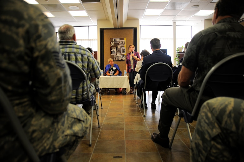 Yulia Genina, a Holocaust survivor, speaks to an audience during the Holocaust Day of Remembrance at Davis-Monthan Air Force Base, Ariz., May 7, 2015. Six Holocaust survivors spoke to over 90 people about their personal accounts survival during the holocaust. (U.S. Air Force photo by Staff Sgt. Angela Ruiz)