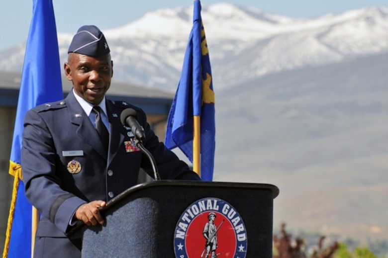 Nevada Air Guard Brig. Gen. Ondra Berry speaks to hundreds of Nevada Guard Airmen at his change of command ceremony on Saturday at the Nevada Air National Guard Base in Reno. In addition to commanding more than 1,100 Nevada Guard Airmen, Berry is set to become a special assistant to the Secretary of the Air Force (Manpower and Reserve Affairs).