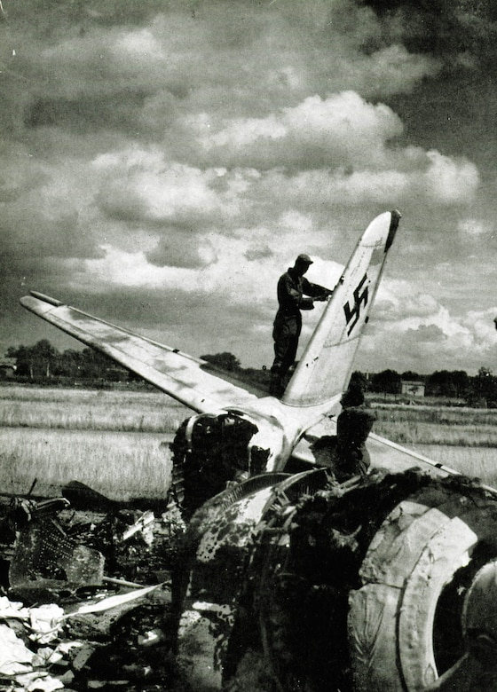 The remains of a German Luftwaffe Ju-88 night fighter litter one of the airfields the 371st Fighter Group operated from during World War II.   The 371st claimed credit for 165 enemy aircraft destroyed on the ground during World War II, and another 71 in the air.  (The Story of the 371st Fighter Group in the E.T.O.)