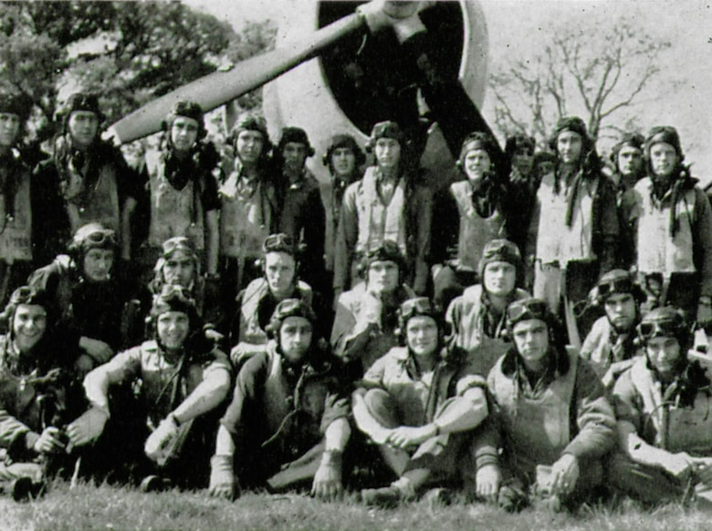 Some of the P-47 pilots of the 406th Fighter Squadron are pictured here in the spring of 1944, possibly at Bisterne Airfield in England.  Shown are their final wartime ranks and the fate of those killed, missing or captured.  In the back row, left to right, are Capt. Samuel B. W. Kennedy, Capt. Paul J. Hurley, Capt. Donald Ross, 1st Lt. Grant Davis Jr., 1st Lt. William M. Taunt, 1st Lt. George Gallow Jr., 1st Lt. Thomas F. Whitfield Jr., Capt. Forest A. Kilgore Jr., Capt. Eric Doorly, 1st Lt. Robert A. Buenzli, 1st Lt. James P. Thiede and Capt. Harry H. Tait Jr. (POW).  Middle row left to right is Capt. Uno A. Salmi (MIA), Capt. Robert J. Rieschl, Capt. John E. Sullivan, 1st Lt. Victor L. Unruh (KIA), 1st Lt. John J. Burns and Lt. Col. Sanders E. Delaney (KIFA).  Front row are Capt. Charles H. Chappas, 1st Lt. Charles P. Sparks (KIA), Maj. Edwin D. Taylor, 1st Lt. Robert R. Meade, Capt. Craig Teller Jr. and 2nd Lt. Sumner J. Calish (KIA).  (The Story of the 371st Fighter Group in the E.T.O.)