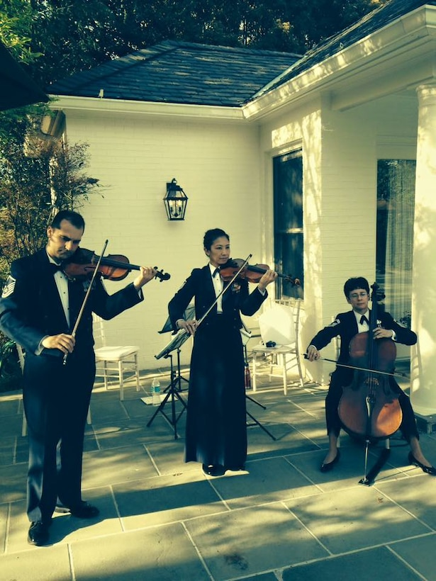 Members of the Air Force Strings performed for guests at the Vice President's residence,