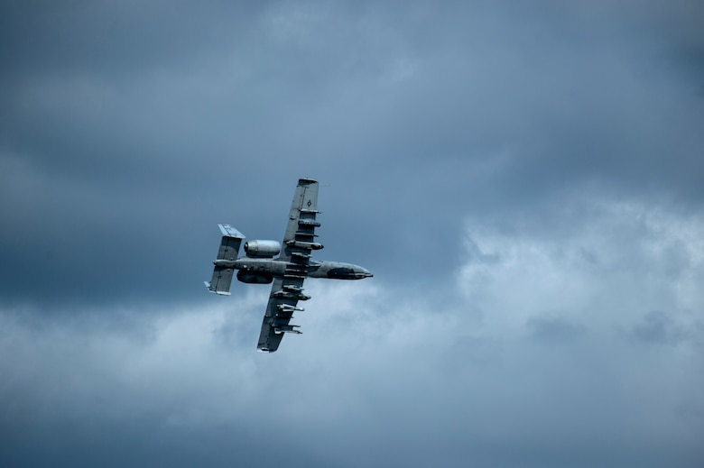 An A-10 Thunderbolt II attack aircraft flies over the airfield during Exercise Hedgehog May 7, 2015, at Ämari Air Base, Estonia. The A-10 supports Air Force missions around the world as part of the U.S. Air Force's current inventory of strike platforms, including the F-15E Strike Eagle and the F-16 Fighting Falcon fighter aircraft. (U.S. Air Force photo by Senior Airman Rusty Frank/Released)