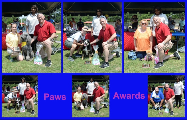 Marine Corps Logistics Base Albany hosts its 2nd annual Paws at the Park event at Crouch Field Ball Park, here, May 9. The activity, coordinated by Marine Corps Community Services drew a crowd of pet owners and vendors from Albany and neighboring communities. (Top: left to right) First place recipients were awarded trophies for obedience, tricks and best dressed, respectively. (Bottom: left to right) Second place canines were awarded trophies for obedience, tricks and best dressed, respectively, as well.