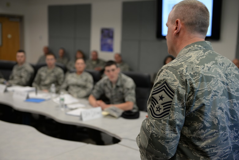 157th Air Refueling Wing Command Chief Master Sgt. Jamie Lawrence welcomes 10 senior airman to the first-ever Satellite Airman Leadership School class at Pease Air National Guard Base, N.H., May 9.  (U.S. Air National Guard photo by Staff Sgt. Curtis J. Lenz)