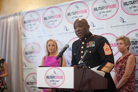 Sgt. Maj. Ronald L. Green, the 18th Sergeant Major of the Marine Corps, attends the 8th annual awards luncheon announcing the 2015 Military Spouse of the Year at the Fort Myers Officers' Club, May 8, 2015. (U.S. Marine Corps photo by Sgt. Melissa Marnell)