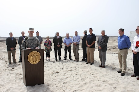 U.S. Army Corps of Engineers' Philadelphia District Deputy Commander Lt. Col. Andrew Yoder spoke during a May 7 media event with Congressman LoBiondo, the New Jersey Department of Environmental Protection, local communities, and contractor Great Lakes Dredge & Dock Company. The event kicked off construction of the Long Beach Island Storm Damage Reduction Project, which is designed to reduce damages from future storm events.