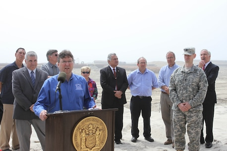 Keith Watson, a Project Manager for the U.S. Army Corps of Engineers' Philadelphia District answered questions during a May 7 media event with Congressman LoBiondo, the New Jersey Department of Environmental Protection, local communities, and contractor Great Lakes Dredge & Dock Company. The event kicked off construction of the Long Beach Island Storm Damage Reduction Project, which is designed to reduce damages from future storm events.