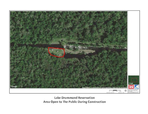 Approximately one-half acre on the west side of the Lake Drummond Reservation will remain open to public visitation during scheduled construction maintenance.