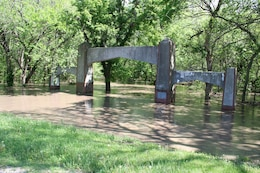 Floodwater inundated many parts of Pioneers Park in Lincoln, Nebraska following heavy rain on May 6, 2015.