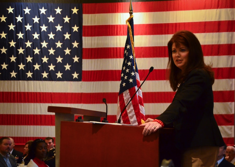 Wisconsin Lt. Gov. Rebecca Kleefisch addresses service members and their employers at the ESGR Breakfast with the Boss event at the Milwaukee County War Memorial May 11, 2015.  The ESGR Breakfast with the Boss event recognizes the civilian employers of guardsmen and reservists for the support and flexibility they give to service members.  (U.S. Air National Guard photo by Tech. Sgt. Jenna Lenski/Released)