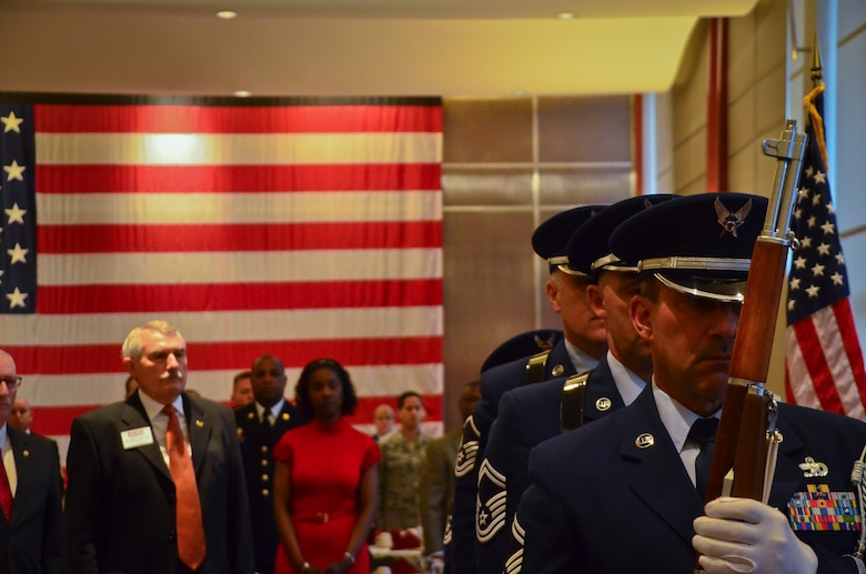 Airmen with the Base Honor Guard of the 128th Air Refueling Wing, Wisconsin Air National Guard present the colors at the ESGR Breakfast with the Boss event at the Milwaukee County War Memorial May 11, 2015.  The ESGR Breakfast with the Boss event recognizes the civilian employers of guardsmen and reservists for the support and flexibility they give to service members.  (U.S. Air National Guard photo by Tech. Sgt. Jenna Lenski/Released)