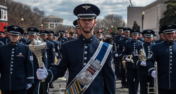 U.S. Air Force Concert Band and Ceremonial Brass members prepare to march down Constitution Ave., in Washington, D.C., March 15, 2015. These members led the way during the 44th Annual St. Patrick's Parade. (U.S. Air Force photo by Airman 1st Class Philip Bryant/released)