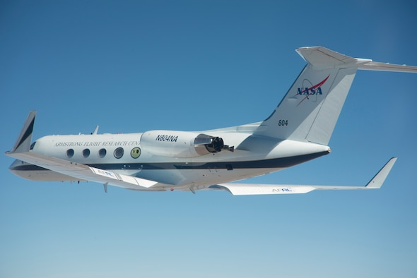 The modified Gulfstream III flight research aircraft with an adaptive compliant wing trailing edge is shown with 25 degrees of trailing edge deflection. (Courtesy photo)