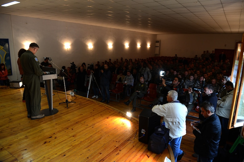 U.S. Air Force Gen. Frank Gorenc, U.S. Air Forces in Europe and Air Forces Africa commander, speaks to an audience of U.S. and Bulgarian Airmen about the Theater Security Package in Europe during a visit to Graf Ignatievo Air Base, Bulgaria, May 11, 2015. U.S. presence in Europe and the relationships built during the past 70 years provide the U.S. strategic access critical to meet NATO Article 5 commitments and to respond to threats against U.S. allies and partners. (U.S. Air Force photo by Senior Airman Gustavo Castillo/Released)