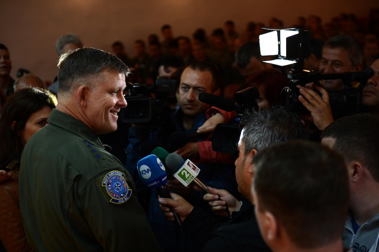 U.S. Air Force Gen. Frank Gorenc, U.S. Air Forces in Europe and Air Forces Africa commander, answers questions about the mission and future of Europe's first-ever Theater Security Package from local media during a visit to Graf Ignatievo Air Base, Bulgaria, May 11, 2015. TSP deployments and combined training with allies and partners demonstrate USAFE's commitment to its allies and its investment in maintaining security and stability. (U.S. Air Force photo by Senior Airman Gustavo Castillo/Released)