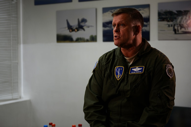 U.S. Air Force Gen. Frank Gorenc, U.S. Air Forces in Europe and Air Forces Africa commander, speaks during an interview while touring Graf Ignatievo Air Base, Bulgaria, May 11, 2015. Gorenc discussed the 159th Expeditionary Fighter Squadron's role in Europe's first-ever Theater Security Package deployment, stressing the unique opportunity for U.S. forces to train with NATO allies across Europe. (U.S. Air Force photo by Senior Airman Gustavo Castillo/Released)