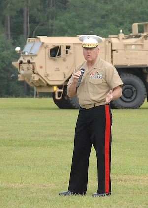 Maj. Gen. John J. Broadmeadow, outgoing commanding general, Marine Corps Logistics Command, addresses the crowd during a change of command ceremony held at Marine Corps Logistics Base Albany, Georgia, May 12.