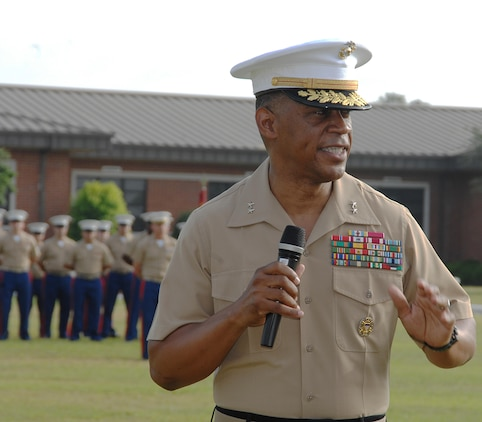 Maj. Gen. Craig C. Crenshaw, commanding general, Marine Corps Logistics Command, takes the helm of LOGCOM after a change of command ceremony held at Marine Corps Logistics Base Albany, Ga., May 12.