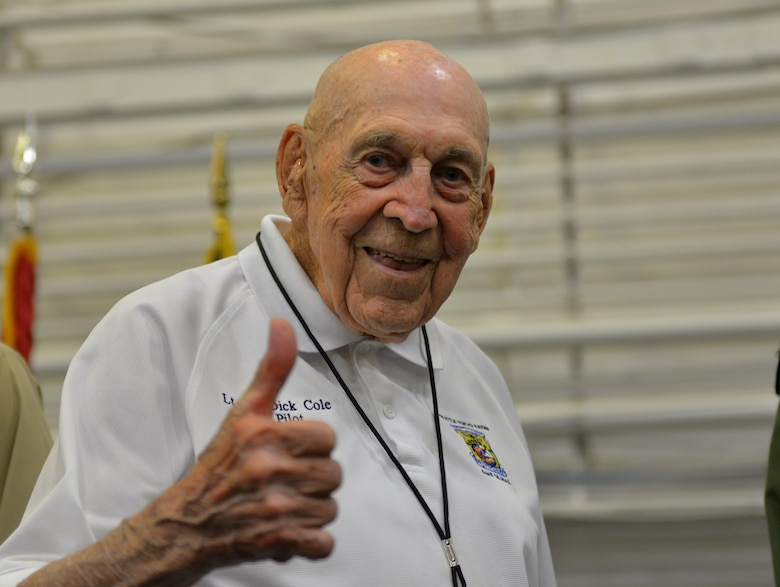 Retired Lt. Col.  Dick Cole smiles after telling his story at the Doolittle Raiders ceremony at Naval Air Station Pensacola May 8, 2015. Cole, who is 99 years old, was Lt. Col. Jimmy Doolittle's co-pilot on the lead aircraft, and dropped the first American bombs on Tokyo April 18, 1942. (U.S. Air Force photo/1st Lt. Ben Sowers)